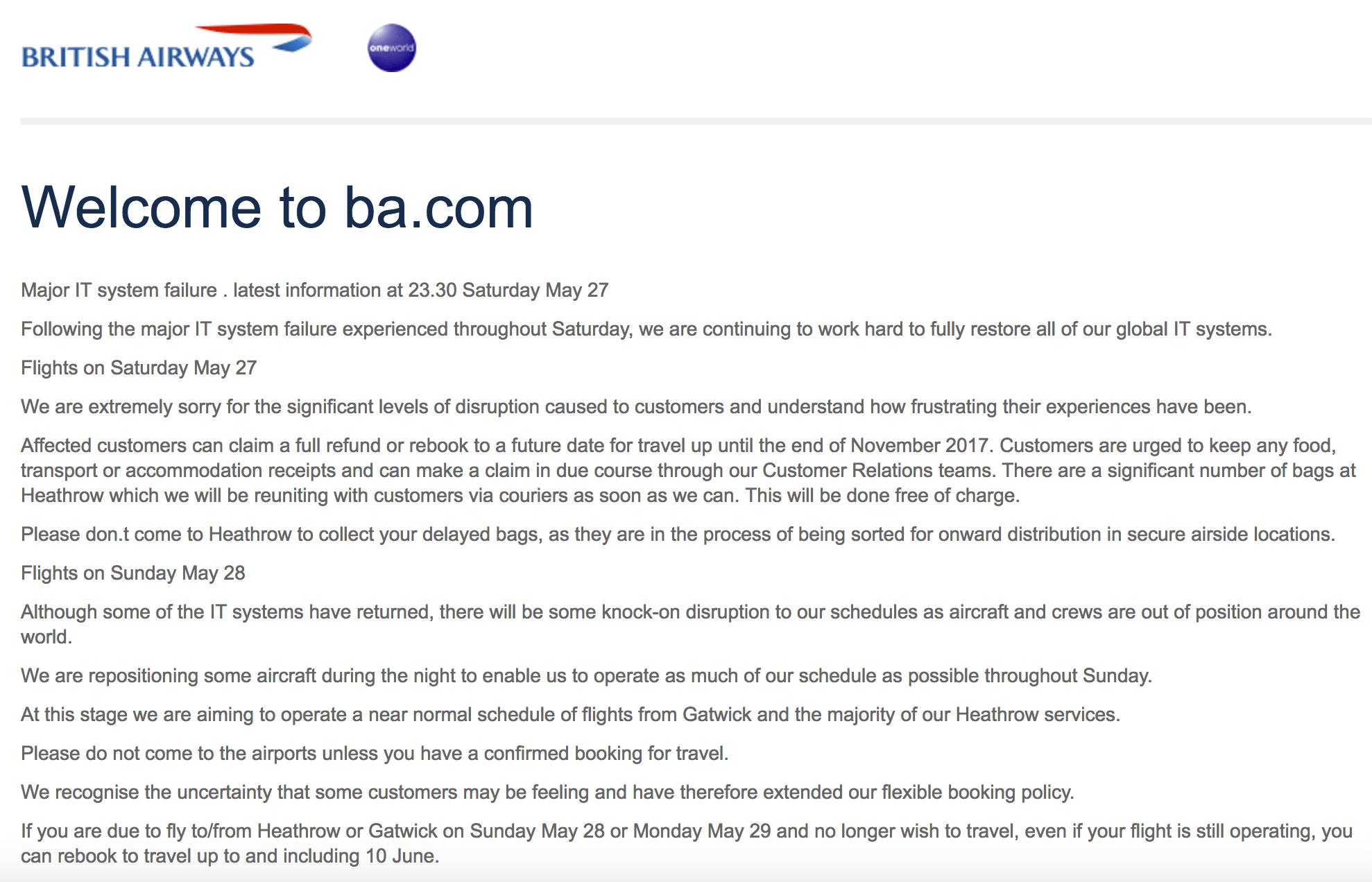 Die Mitteilung von British Airways zum IT-Systemausfall am 27. Mai 2017